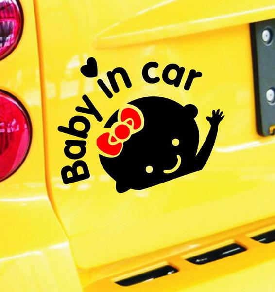 สติ๊กเกอร์ติดรถยนต์ Baby in car สีดำโบว์แดง (17x14 CM)