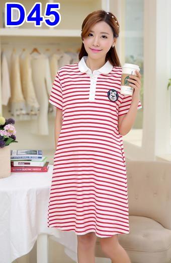 #ชุดคลุมท้องแฟชั่น ผ้ายืดลายขวางสีขาวสลับแดง แขนสั้น คอบัวสีขาว พร้อมกระเป๋าล้วง2ข้าง เนื้อผ้านิ่มใส่สบายมากๆคะ