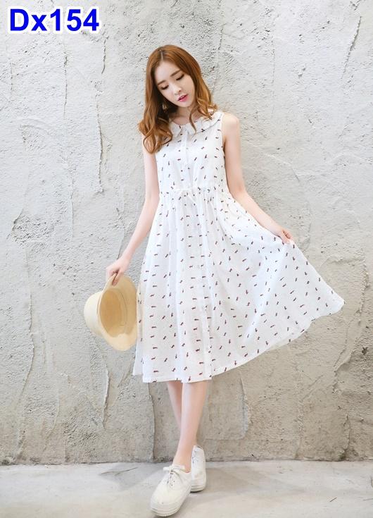 #สินค้าลดราคาจร้า #Dressกระโปรง ผ้าฝ้ายสีขาวลายสีอิท แขนกุด ผ้าเนื้อนิ่มพร้อมเชือกรูดด้านหน้าและซับใน ใส่สบายมากๆคะ