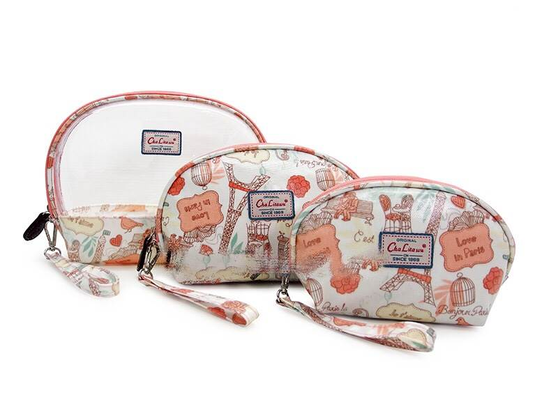 กระเป๋าจัด SET 3 ใบ ลายหอไอเฟลชมพู