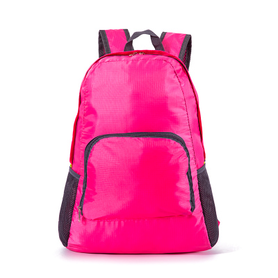 (สีชมพู) กระเป๋าสะพายกันน้ำพกพาพับเก็บได้ ขนาด 44 x 28 CM