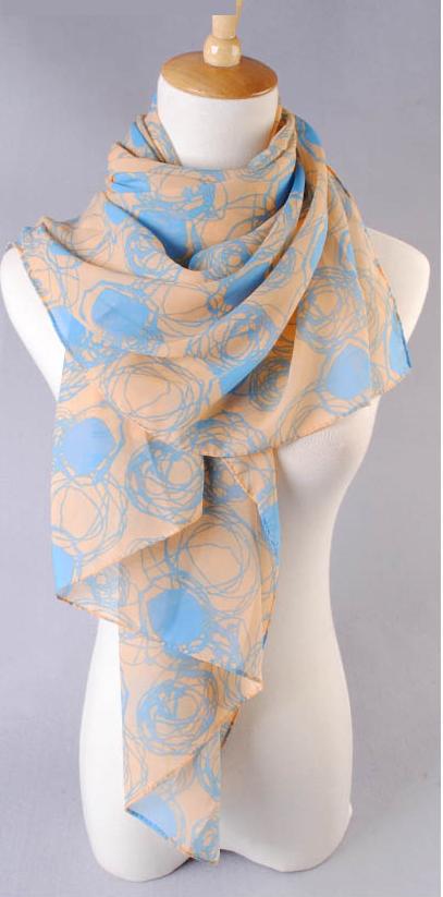 ผ้าพันคอผ้าชีฟองสีเบจ ลายวงกลมสีฟ้า