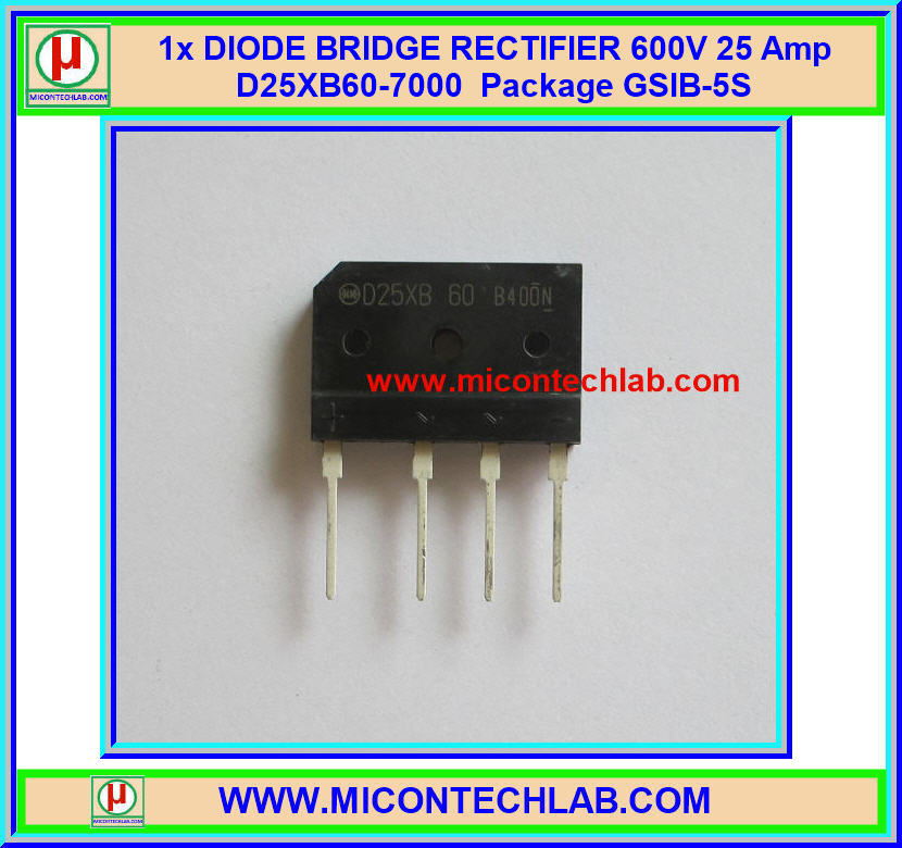 1x DIODE BRIDGE RECTIFIER 600V 25 Amp