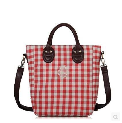 กระเป๋าสะพายข้างยี่ห้อ Super Lover สไตล์ญี่ปุ่นและเกาหลีใต้สก็อตแดงสด (Preorder)
