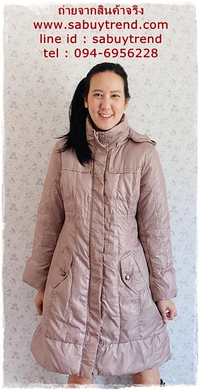 ((ขายแล้วครับ))((จองแล้วครับ))ca-2883 เสื้อโค้ทขนเป็ดสีเบจ รอบอก41