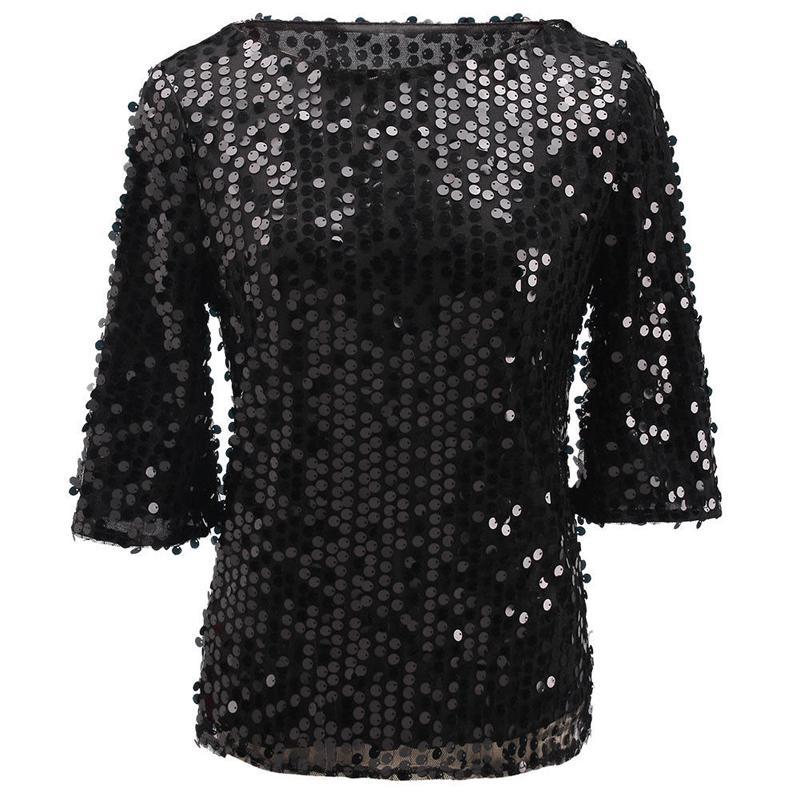 เสื้อเบลาส์ Sequins short-sleeved